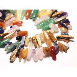 20pc - Perles de Pierre - Mélange Multipierres Rocailles Chips Batonnets 8-20mm - 8741140014541