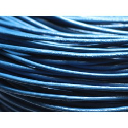 Echeveau 90 mètres - Fil Cordon Cuir Véritable Rond 2mm Bleu Vert Pétrole Canard - 8741140014695
