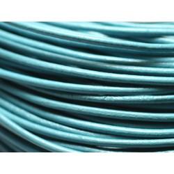 Echeveau 90 mètres - Fil Cordon Cuir Véritable Rond 2mm Bleu clair Turquoise - 8741140014688
