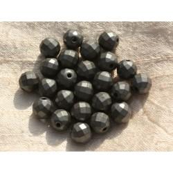 10pc - Perles de Pierre - Hématite Mat Boules Facettées 6mm - 8741140014763