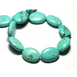 4pc - Perles Turquoise Synthèse - Ovales 20x15mm Bleu Turquoise - 8741140014626