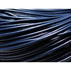 5 mètres - Cordon Cuir Rond 2mm Bleu Marine - 8741140014664