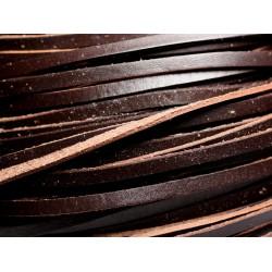 1 mètre - Lanière Cuir Véritable Marron Café et Beige 5x2mm - 4558550000040