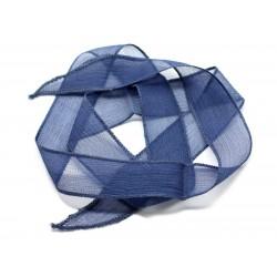 1pc - Collier Ruban Soie teint à la main 85 x 2.5cm Bleu Marine (ref SOIE132) 4558550003096