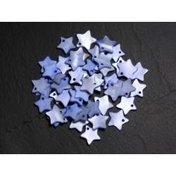 10pc - Pendentifs Breloques Nacre Etoiles 11-12mm Bleu Pastel Lavande - 4558550087836