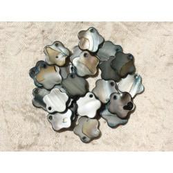 10pc - Perles Breloques Pendentifs Nacre Fleurs 15mm Gris Noir 4558550002600