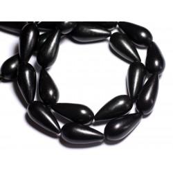 4pc - Perles de Pierre - Turquoise synthèse reconstituée Gouttes 25mm Noir - 8741140005327