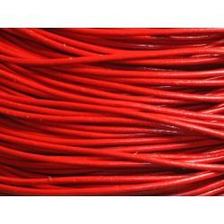 Echeveau 90 mètres - Fil Cordon Cuir Véritable 2mm Rouge vif - 8741140014404