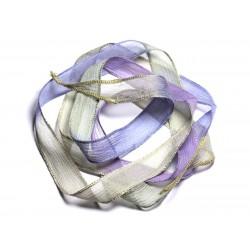 Collier Ruban Soie teint à la main 130x1.8cm Rose Mauve Lavande Jaune Vert Kaki (SOIE148) - 8741140003095
