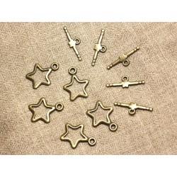 50pc - Fermoirs Toogle T Etoile Métal Bronze Qualité 22x16mm 4558550007384