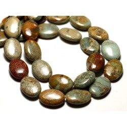 2pc - Perles de Pierre - Jaspe Aqua Terra Ovales 18x13mm Turquoise et Beige - 8741140014299