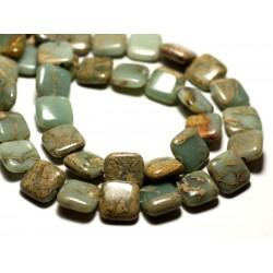 4pc - Perles de Pierre - Jaspe Aqua Terra Carrés 12mm Turquoise et Beige - 8741140014282