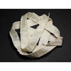 Collier Ruban Soie sauvage Bourrette 85 x 2cm Blanc Crème SOIE187 - 8741140003392