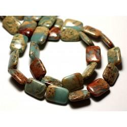 2pc - Perles de Pierre - Jaspe Aqua Terra Rectangles 18x13mm Turquoise et Beige - 8741140014305
