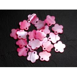 10pc - Perles Breloques Pendentifs Nacre Fleurs 15mm Rose Fuchsia - 4558550039972
