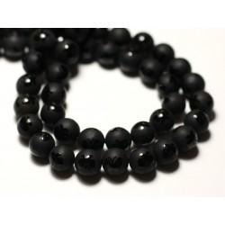 10pc - Perles de Pierre - Onyx Noir mat givré Papillon brillant Boules 8mm - 8741140014329