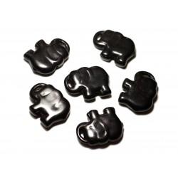 1pc - Grande Perle Pendentif en Pierre Turquoise synthèse - Elephant 38mm Noir - 8741140014343
