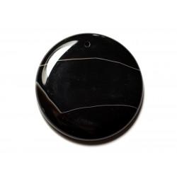 N9 - Pendentif Pierre semi précieuse - Agate noire et blanche rond 47mm - 8741140014138