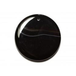 N11 - Pendentif Pierre semi précieuse - Agate noire et blanche rond 48mm - 8741140014152