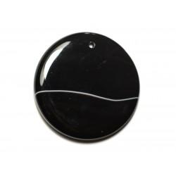 N12 - Pendentif Pierre semi précieuse - Agate noire et blanche rond 51mm - 8741140014169