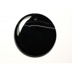 N19 - Pendentif Pierre semi précieuse - Agate noire et blanche rond 49mm - 8741140014237