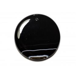 N13 - Pendentif Pierre semi précieuse - Agate noire et blanche rond 49mm - 8741140014176