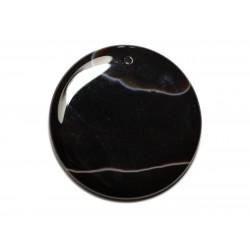 N14 - Pendentif Pierre semi précieuse - Agate noire et blanche rond 50mm - 8741140014183