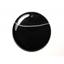 N17 - Pendentif Pierre semi précieuse - Agate noire et blanche rond 51mm - 8741140014213