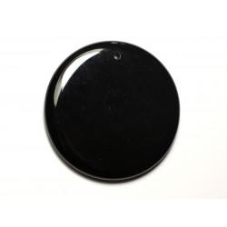 N18 - Pendentif Pierre semi précieuse - Agate noire rond 51mm - 8741140014220