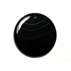 N20 - Pendentif Pierre semi précieuse - Agate noire et blanche rond 51mm - 8741140014244