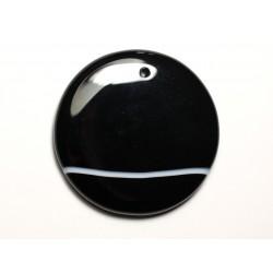 N22 - Pendentif Pierre semi précieuse - Agate noire et blanche rond 47mm - 8741140014268
