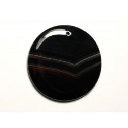 N23 - Pendentif Pierre semi précieuse - Agate noire et blanche rond 46mm - 8741140014275