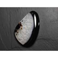 Pendentif en Pierre - Agate et Quartz Noir et Blanc Goutte 63mm N28 - 4558550085764