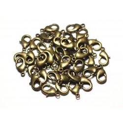 10pc - Fermoirs Mousquetons 15mm Métal Bronze Qualité - 8741140010499