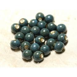 10pc - Perles Céramique Porcelaine Bleu Turquoise tacheté Boules 10mm - 8741140010543
