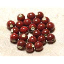 10pc - Perles Céramique Porcelaine Boules 10mm Rouge Bordeaux tacheté - 8741140010536