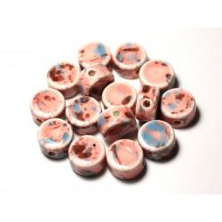 4pc - Perles Céramique Porcelaine Palets 15mm Marron Rose Bleu Pastel - 8741140010574