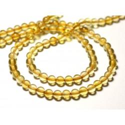 2pc - Perles d'Ambre naturelle jaune Boules 5mm - 8741140014084