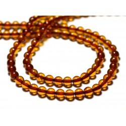 2pc - Perles d'Ambre naturelle orange Boules 5mm - 8741140014091
