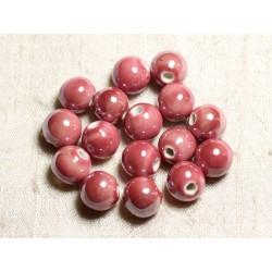 4pc - Perles Céramique Porcelaine Boules 14mm Rose clair Corail irisé - 8741140013940