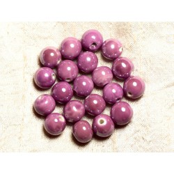 4pc - Perles Céramique Porcelaine Boules 14mm Rose mauve irisé - 8741140013957