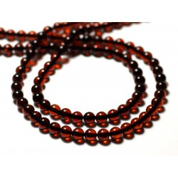 2pc - Perles d'Ambre naturelle rouge Boules 5mm - 8741140014107