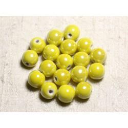 4pc - Perles Céramique Porcelaine Boules 14mm Jaune irisé - 8741140013919
