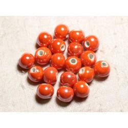 4pc - Perles Céramique Porcelaine Boules 14mm Orange irisé - 8741140013926