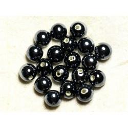 4pc - Perles Céramique Porcelaine Boules 14mm Noir irisé - 8741140013988