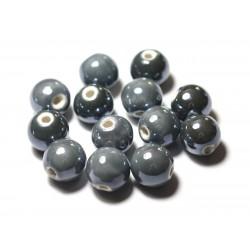 4pc - Perles Céramique Porcelaine Boules 14mm Gris foncé irisé - 8741140014008