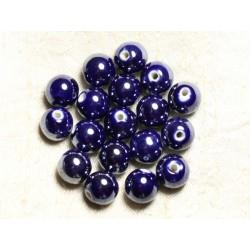 4pc - Perles Céramique Porcelaine Boules 14mm Bleu nuit irisé - 8741140014022