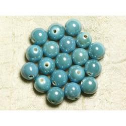 4pc - Perles Céramique Porcelaine Boules 14mm Bleu Turquoise irisé - 8741140014039