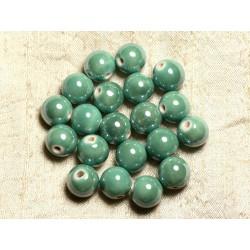 4pc - Perles Céramique Porcelaine Boules 14mm Vert Turquoise irisé - 8741140014046