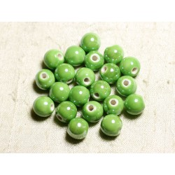 4pc - Perles Céramique Porcelaine Boules 14mm Vert Pomme irisé - 8741140014053
